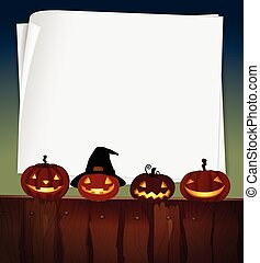 Blank paper with halloween theme background