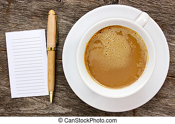 Blank paper with hot coffee cup