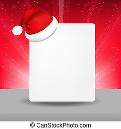 Blank Paper With Santa Hat And Sunburst
