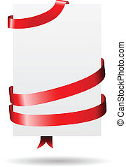 Blank paper wrapped with red ribbon