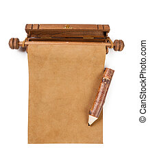 Blank parchment manuscript and pencil isolated on white...