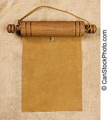 Blank parchment manuscript in wooden case - Blank parchment...