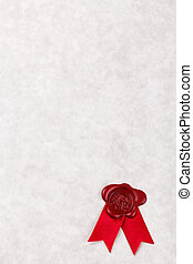 Blank parchment paper with red wax seal