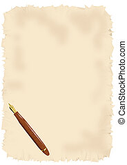 Blank parchment with pen