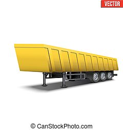 Blank parked yellow tipper semi trailer