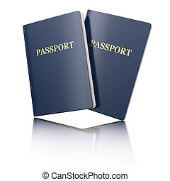 Blank passport on white isolated background. 3d