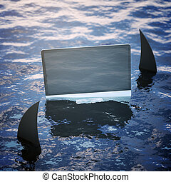 Risk and ad concept - Blank pc screen on sea surface with...