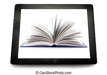 blank PC tablet computer with book open on the white