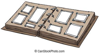 Blank Photo Album - An open cartoon photo album with blank...