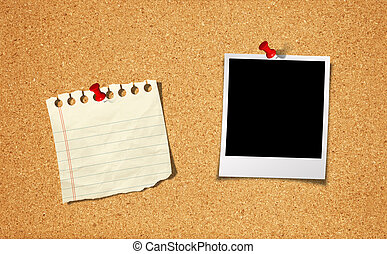 Blank Photo and Notepad with push pin on cork board...