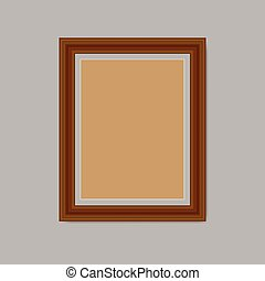 Blank photo frame isolated on gray background. Vector illustration.