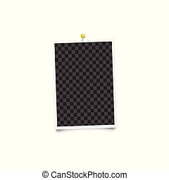 Blank photo frame on a wall 3d realistic mockup vector illustration isolated.