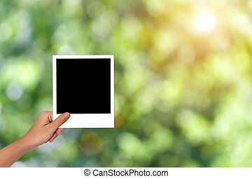 Blank photo frame for nature concept mockup