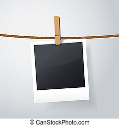 blank photo frame on rope