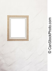 blank photo frame on white wall background