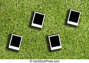 Blank photo on artificial grass field Landscape