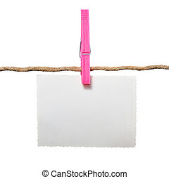 Blank Photo on Rope with Clothespin on White Background