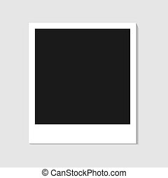 Blank photo polaroid frame isolated on white background, shadow effect and empty space for your photography and picture. Scrapbook album decoration template. EPS vector illustration.