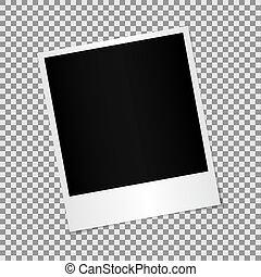 Blank photo polaroid frame with adhesive tape isolated on transparent background, shadow effect and empty space for your photograph and picture. EPS 10 vector illustration.