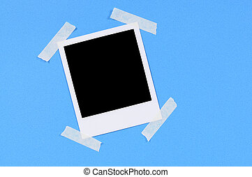 Blank photo print with blue background
