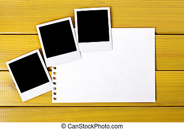 Blank photo prints with torn paper