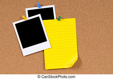 Blank photo prints with yellow writing paper