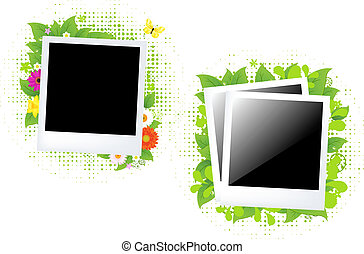 Blank Photo With Flower And Leaf