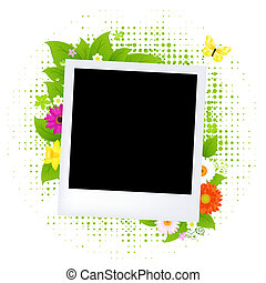 Blank Photo With Flower, Isolated On White Background,...