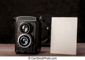 Blank photo with old twin lens reflex camera.