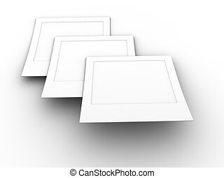 3d rendered image of 3 blank photos.
