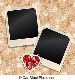 Blank photos on a wall - Blank instant photo frames on a...