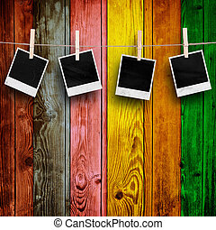 Blank Photos on Multicolored Wood Background