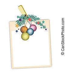 Blank Photos with Christmas Ball Hanging on Clothesline