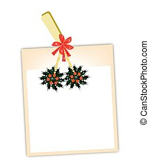 Blank Photos with Christmas Holly Hanging on Clothesline