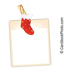 Blank Photos with Christmas Stocking Hanging on Clothesline