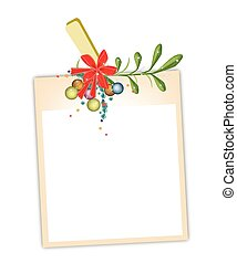 Blank Photos with Mistletoe Hanging on Clothesline