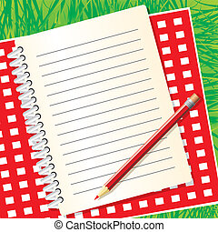blank picnic menu on the background of grass. Vector image.
