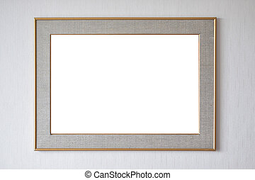 Blank picture frame hanging on wall