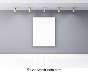 Blank picture frame in empty room with lamps and white wooden floor, mock up