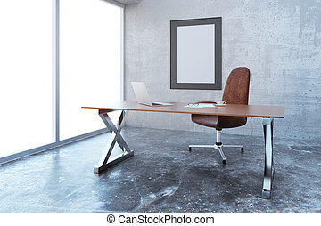 Blank picture frame in modern loft style office with furniture, mock up