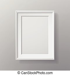 blank picture frame isolated on grey wall