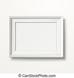 blank picture frame isolated on white wall