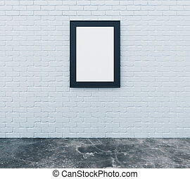 Blank picture frame on brick wall with concrete floor in empty room, mock up
