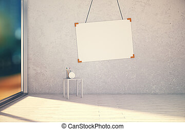 Blank picture frame on concrete wall in empty room at evening, 3D Render, mock up