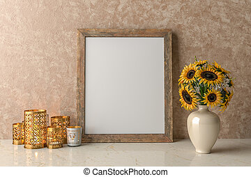 Blank Picture frame on the wall