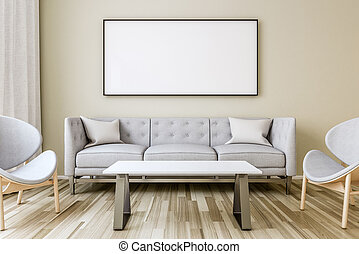 Blank picture frame on the wall in the living room
