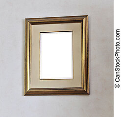 Blank picture frame on white wall