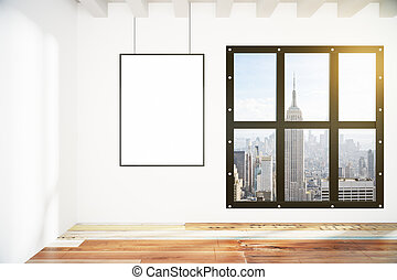 Blank picture frame on white wall in loft empty room with city view, mock up