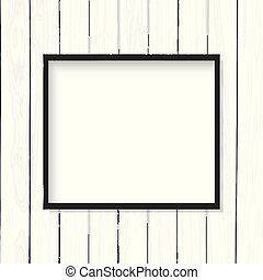 Blank picture frame on white wooden texture