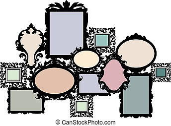 blank multiple picture frame set, vector design element